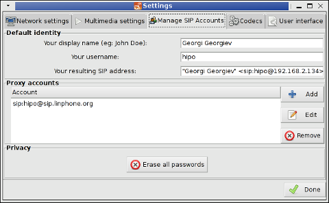 LinPhone Working Linux Skype Alternative Settings Screenshot