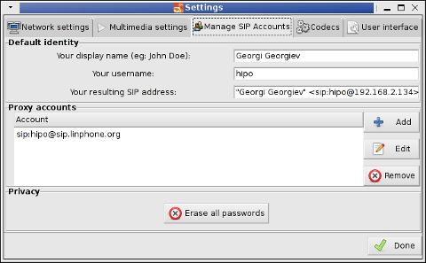 LinPhone Working Linux Skype Alternative Settings Screenshot