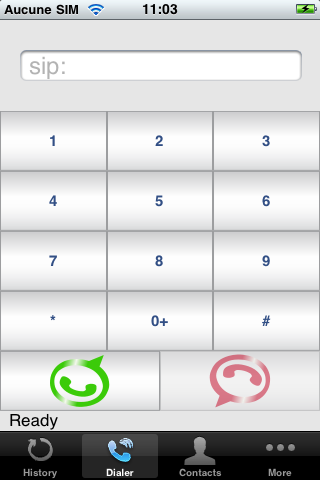 LinPhone for Iphone version dialpad picture