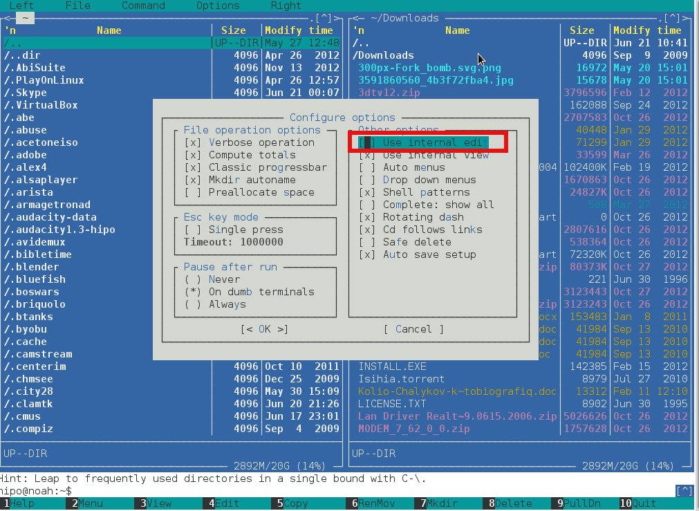linux console file manager midnight commander use internal edit menu unchecked screenshot
