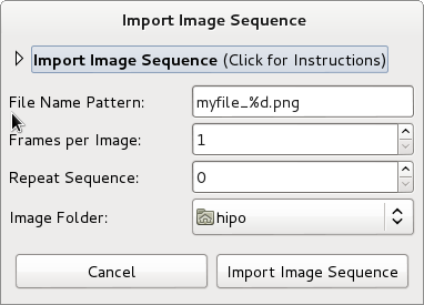 Linux create video from images import image sequence Debian / Fedora and Ubuntu