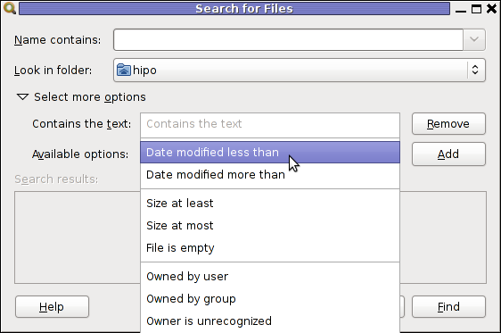 gnome-search-tool available options screenshot Debian Linux