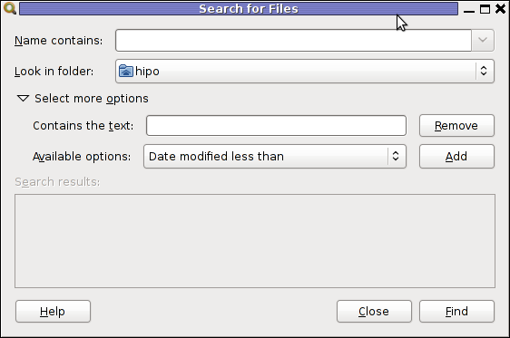 gnome-search-tool screenshot find files by content recursively Debian GNU / Linux