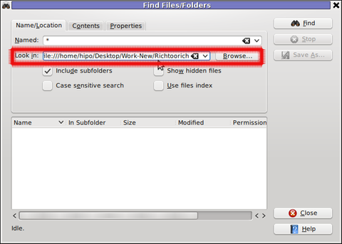 Screenshot find content in multiple files and folders recursively kfind kde program