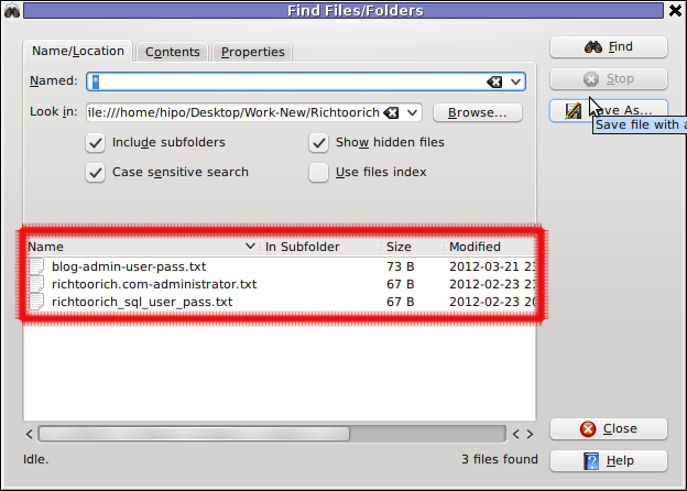 Screenshot find content in multiple files and folders recursively kfind kde gui program