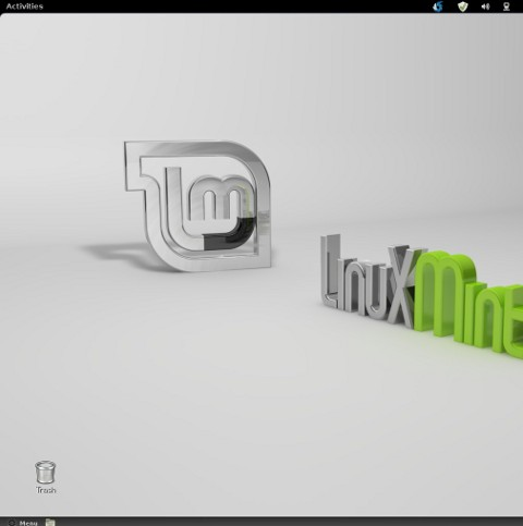 Linux Mint desktop how to visualize trash bin on desktop screenshot