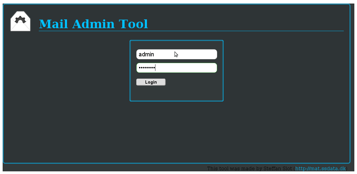 Mail admin tool login screen screenshot Debian / Ubuntu GNU Linux