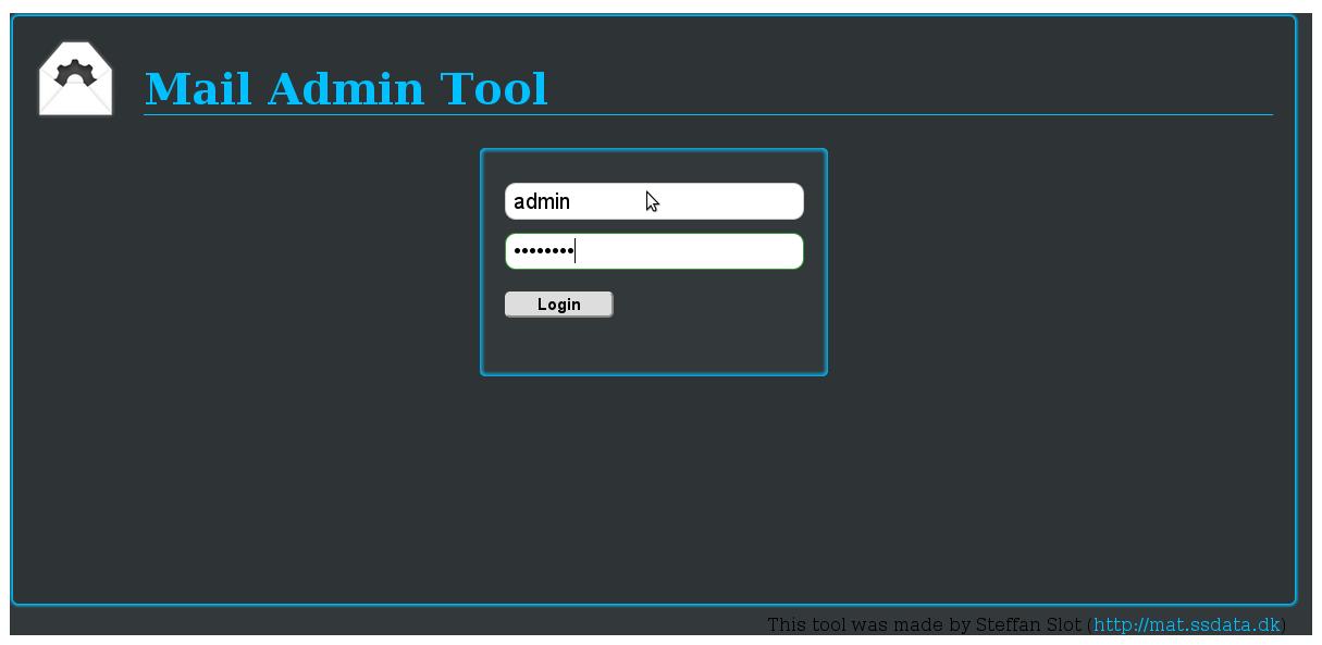 Mail admin tool login screen screenshot Debian / Ubuntu GNU Linux