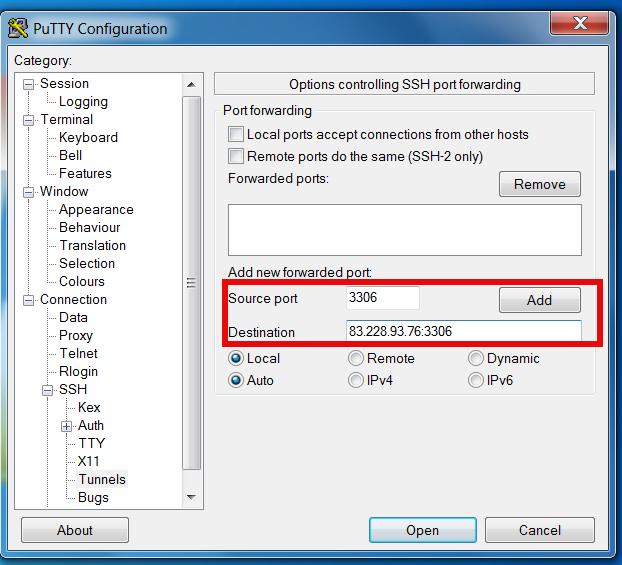 make ssh tunnel on Microsoft Windows putty to remote filtered mysql shot