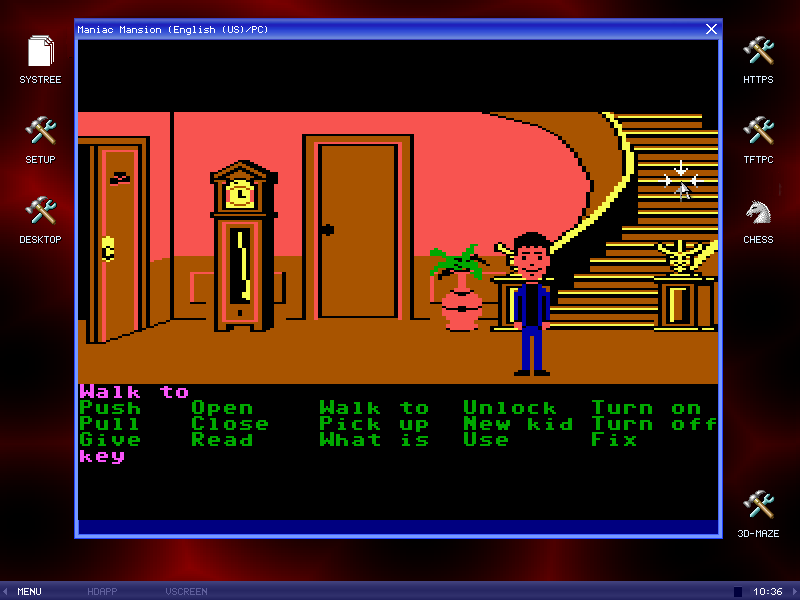 Maniac Mansion running on MenuetOS assembler build free Operating system