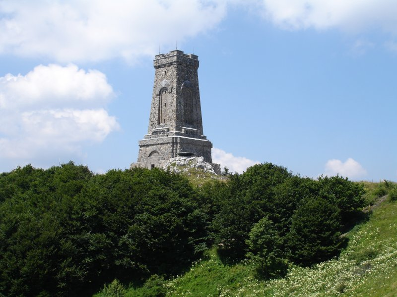 Shipa memoriam monument of Bulgarian Russian Turkish bloody battles near Shipka Pass (Peak)