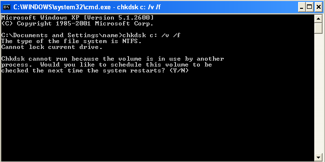 running chkdsk in read only mode microsoft windows  XP chkdsk schedule check drive C on next restart