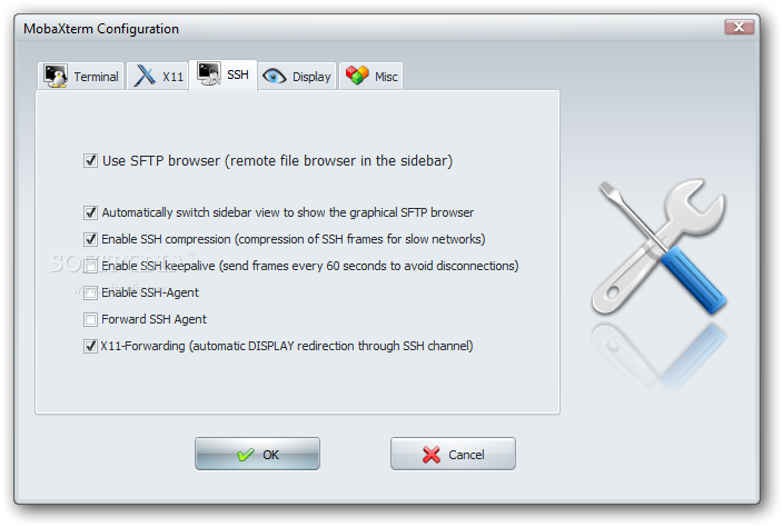 mobaxterm windows ssh client for linux users configuration ssh tab screenshot