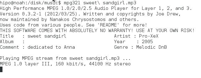mpg321 debian gnu linux playing mp3 in console screenshot