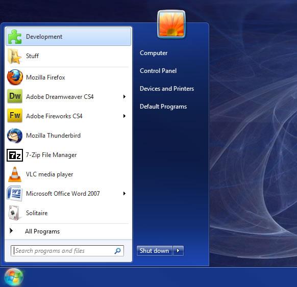MS Windows 7 start Menu m$ windows well known flag