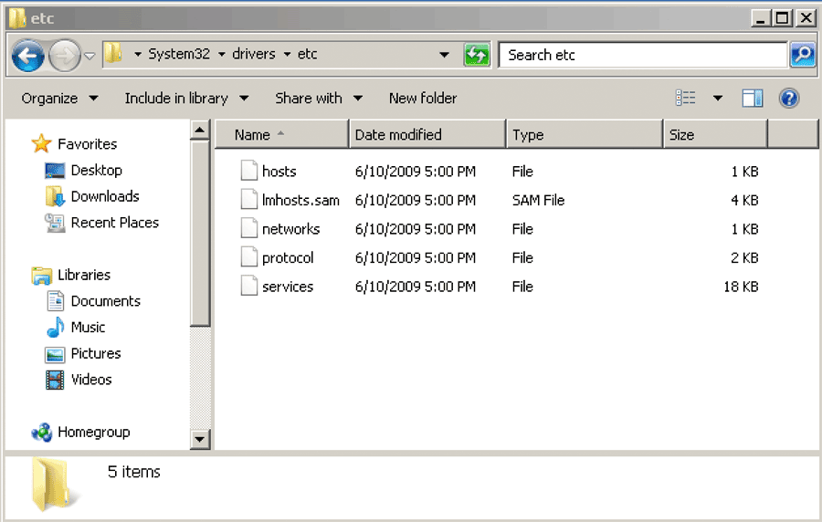 Microsoft Windows c:\system32\drivers\etc\hosts file Windows explorer screenshot