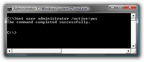 Net user show administrator Windows 7 command