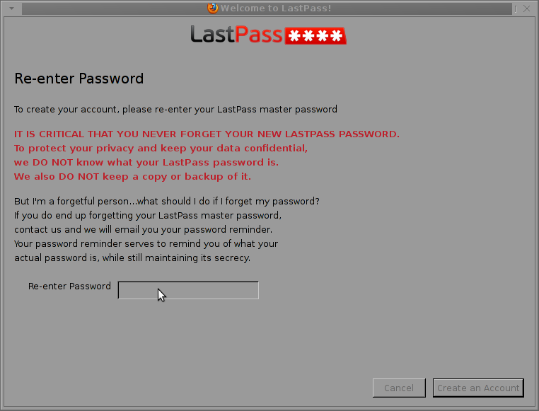 never forget password lastpass dialog
