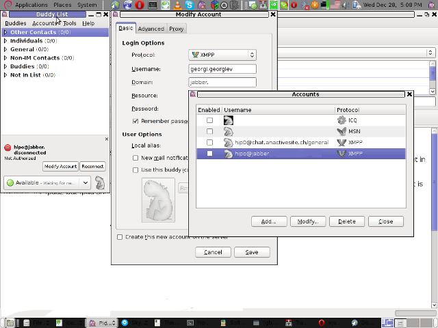 Pidgin account configuration XMPP on debian Linux