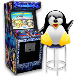 Play arcade games on Debian GNU Linux 7 Wheezy Tux arcade logo