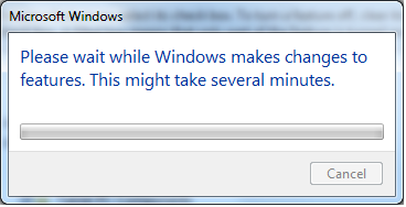 Please wait while Windows makes changes to features, installing telnet client post dialog window