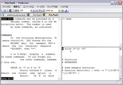 Poderosa Windows ssh / telnet tabs terminal emulator screenshot
