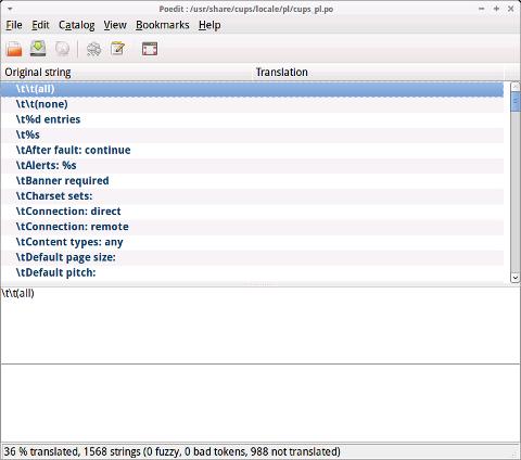 poedit gnu linux xubuntu screenshot editing cups .po language plain text file