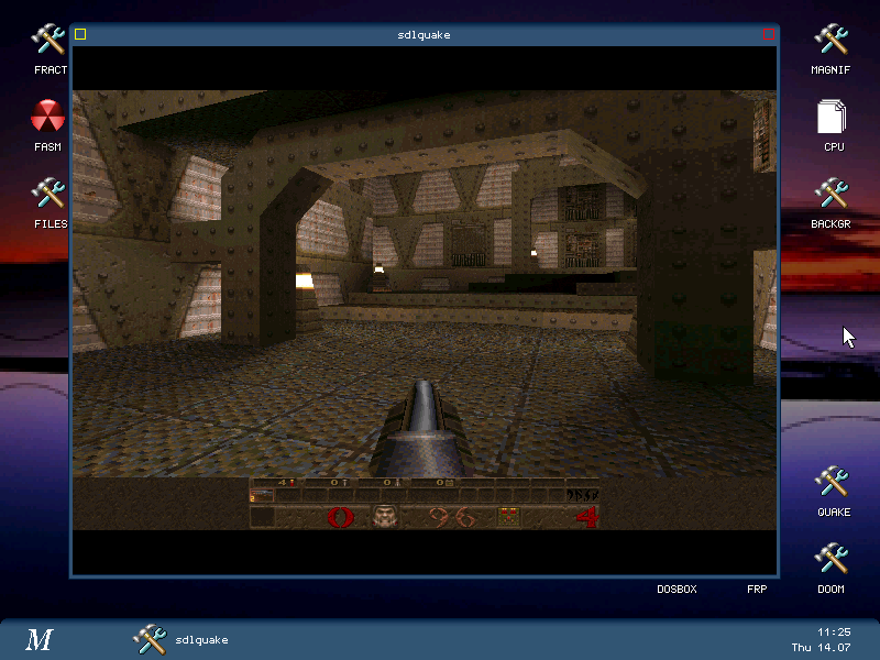 quake legendary game running on Menuetos asm free OS