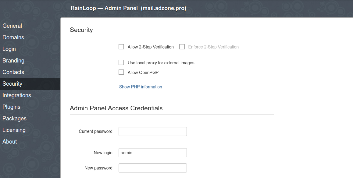 rainloop-php-web-mail-security-menu-screenshot-debian-linux