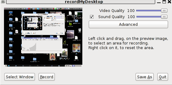 RecordMyDesktop GTK interface entry screen