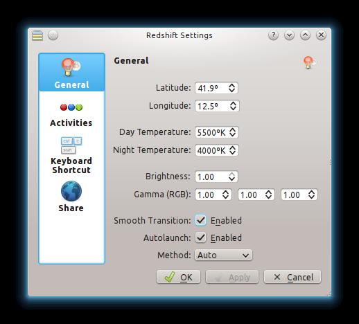 redshift-on-KDE-settings-menu