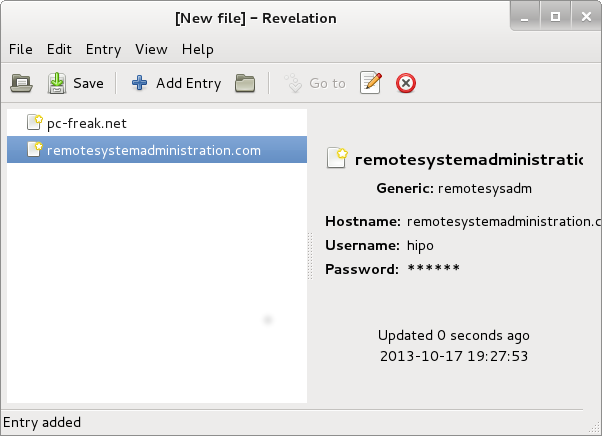 Revelation Linux Gnome graphic password manager program