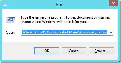 run command for start up program add Remove Microsoft Windows 8