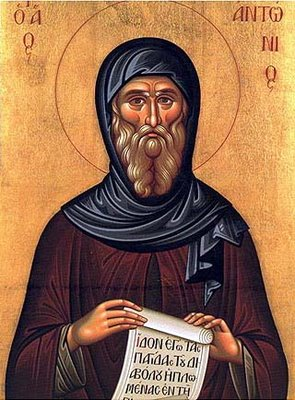 saint Anthony icon and desert Christian hermit fathers saint Anthony Cave and monastery
