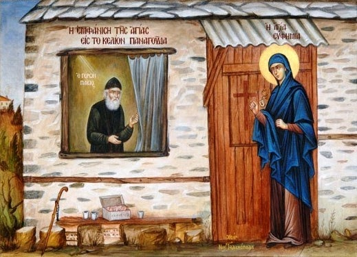 saint-Euphomia-visits-elder-Paisios-on-Holy-mount-Athos