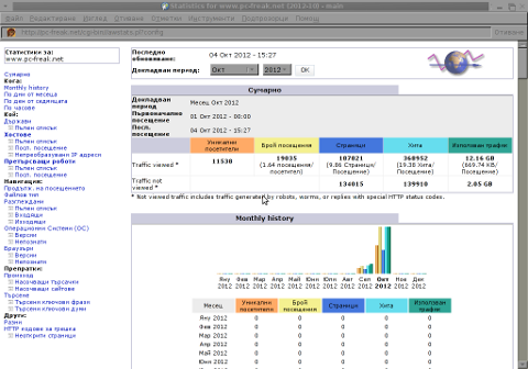 Screenshot Awstats example Statistics for pc-freak.net in Epiphany