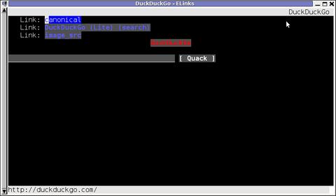 elinks opened duckduckgo.com google alternative search engine in mlterm terminal Debian Linux
