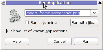 Screenshot GNOME run application GNU / Linux Debian ImageMagick import area screenshot