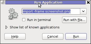 Screenshot GNOME run application GNU / Linux Debian ImageMagick import area screenshot