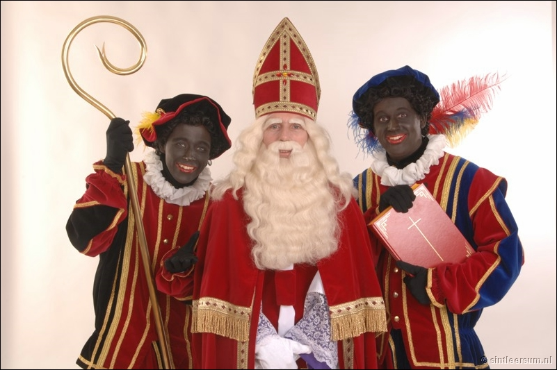 Saint Nicolas feast in the Belgium Holland and Germany - Sintaklaas Sinta Klaus with Zwarte Piete (the lblack helper of saint Nicolas)