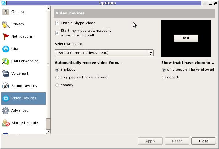 Skype Options Video devices screenshot