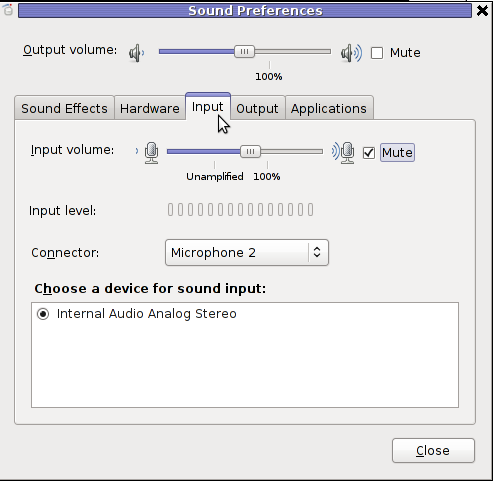 Sound Preferences input gnome Linux muted microphone screenshot