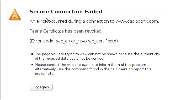 Certificate has been revoked,  sec_error_revoked_certificate screenshot