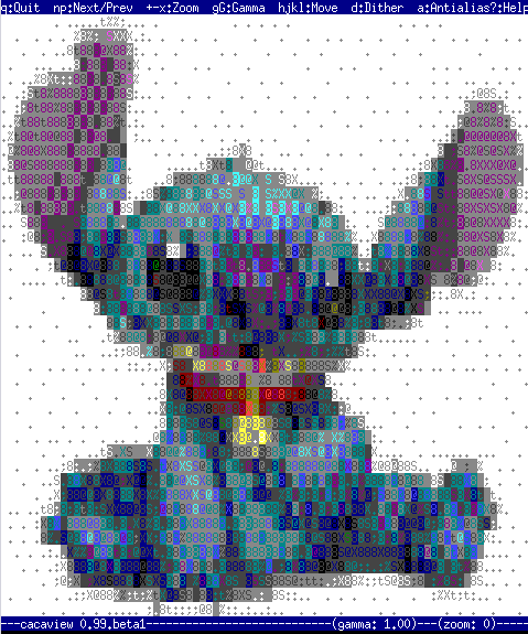 Stitch 80x45 libcaca mascot cacaview viewing JPG, PNG, GIF images as ASCII on Linux libcaca
