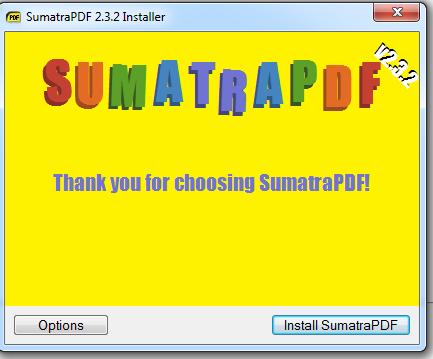 sumatra pdfafter install thank you screenshot