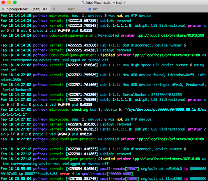 tail-ccze-syslog-screenshot viewing in Colors your Linux logs