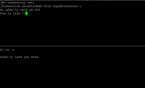 Talk between two useres on  FreeBSD 7.2 screenshot, console peer to peer interactive talk program UNIX, Linux, BSD
