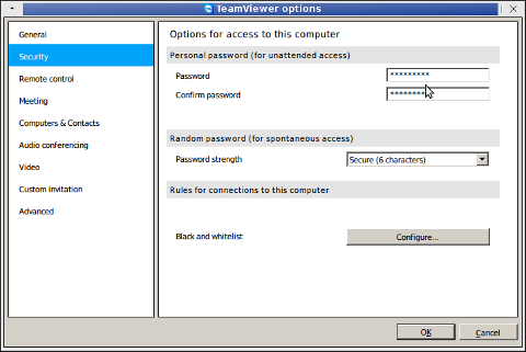 teamviewer extras options security configuring teamviewier permanent password for ID