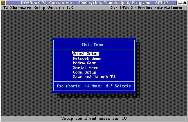 Terminal Velocity TV, dosbox setup.exe sound blaster setup program screenshot