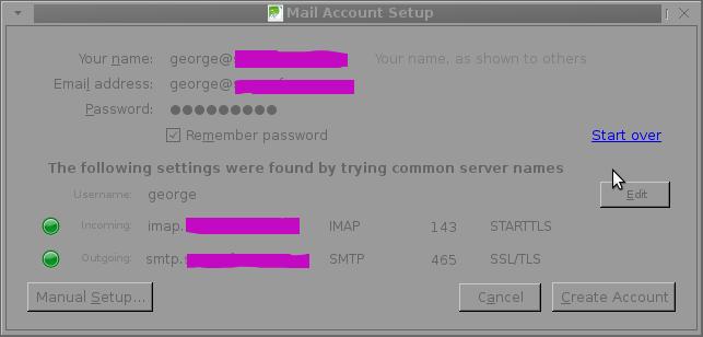 Thunderbird icedove new mail account setup auto config Okay